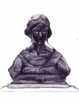 Pencil drawing - Female statue