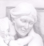 Pencil drawing - Female statue - Tate Britain