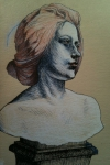 Female bust from V&A (pen & chalk)