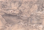 Silverpoint - French river landscape